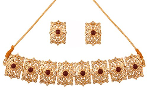 Touchstone Indian Bollywood grand Mughal faux ruby/pearls/crystals bridal jewelry chik-patti in gold tone for women
