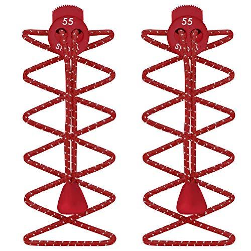 55 sport - lacci per scarpe elastici e autobloccanti - rosso