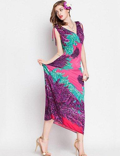PU&PU Robe Aux femmes Swing Vintage / Bohème,Imprimé V Profond Maxi Polyester BEIGE-M