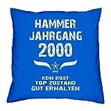 Hammer Jahrgang 2000 Sprüche Kissen 40x40 für die ganze Familie Geschenk zum 18 Geburtstag Geburtstagsgeschenk Sohn Tochter : royal-blau