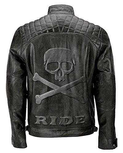 paramount-fashion Giacca di Vera Pelle Stile Biker Trapuntato Moto d'Epoca con Teschio in Rilievo Logo sul retro-4XL
