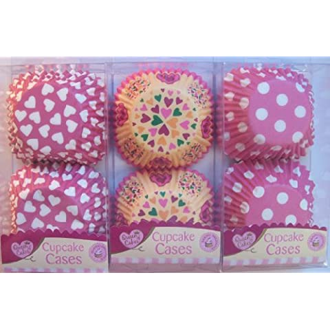 Regina delle torte, motivo Cupcake, colore: Rosa, 3 fantasie, 180 Cases