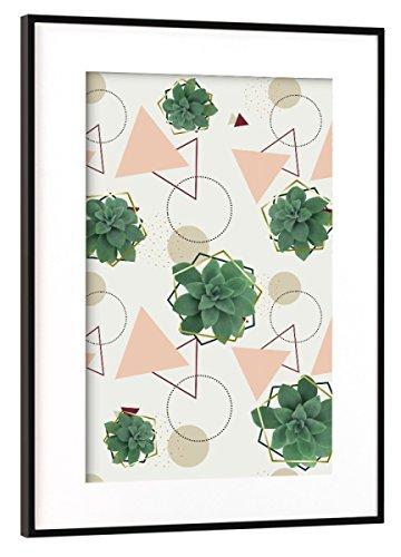 artboxONE Poster mit Rahmen Schwarz (Metallic) 45x30 cm Lovely Succulents von DesigndN - gerahmtes Poster