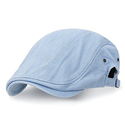 ililily Baumwolle Denim Verstellbarer Gatsby Schieber Hut Cabbie (Chauffeurhut) Golfermütze flach Cap, Light Blue -
