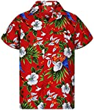 Funky Camicia Hawaiana, Cherry Parrot, red, XXL