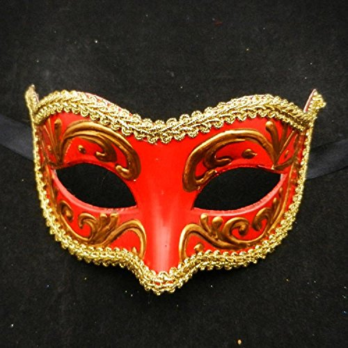 Xizi Frauen leuchten venezianischen Maskerade Maske gefiederten Kostüm Maske für Halloween Tanz Performance Party Karneval oder Prom Masken rot