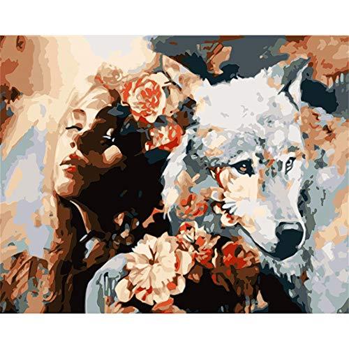 YIZHL Malen Nach Zahlen Erwachsene Kinder Malen Nach Zahlen DIY Blumen Weißen Wolf Und Beau Tier Leinwand Hochzeit Dekoration Kunst Bild - Erstellen Sie Ein Wolf Kostüm