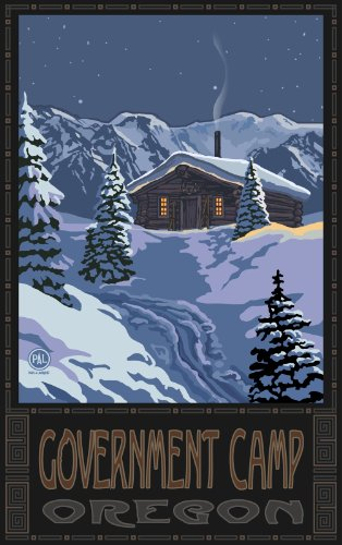 egierung Camp Oregon Winter Mountain Cabin Bild gerahmt von Paul A lanquist, 27,9 cm von 43 cm, Nostalgie Vintage Art (Camp Pals)