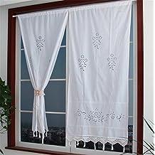 zhh hecho a mano Crochet encaje flor hueca de cortina cortina