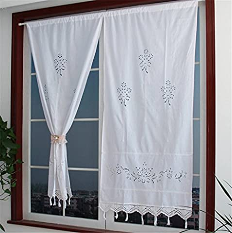 ZHH 1 Pair Curtains, Hollow Out Floral Natural Cotton Crochet Tape Top White Curtains 27