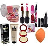 SWIPA All In One Makeup Kit Set(Makeup Kit+2Pcs Lipstick+36Hrs Eyeliner Pen+Kajal+Foundation+Compact+Puff)