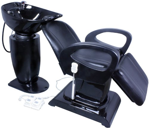 FIGARO elektrisch verstellbare Rückwärtswaschanlage TREMONTI schwarz, Sitz schwarz