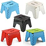 ASAB® Small Folding Step Stool Plastic Multi Purpose Slip Resistant Top Step Foldable Easy Storage Home Kitchen Max Load 150kg - 25 x 21 x 21cm