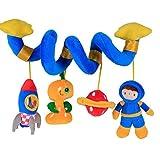 Labebe  Vendedores Calientes Carro Juguete, Cochecito Juguete para Bebé de 3 Meses y Más, Colgante Espiral Bebé con Astronauta y Cohete Azul, Carro Bebé Juguete/Carro Bebé/Colgante Bebé