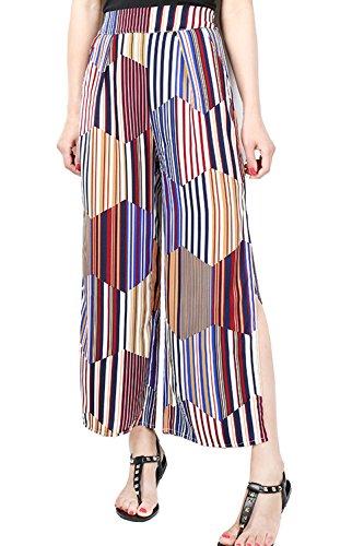 Élastique Split floraux lâches mousseline poche pantalon féminines 16