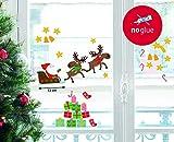 Fenstersticker Weihnachtssticker - Weihnachtsmann mit Rentierschlitten und Geschenken - Set 38-teilig, Sticker ca. zwischen 3cm und 15cm im Durchmesser, individuell gestaltbar