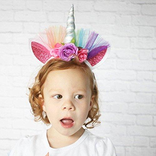 (Kicode Fashion Net Yarn Silber Horn-Haar-Band Einhorn-Stirnband Mädchen Kopfschmuck Kinder-Kostüm Party-Zubehör)