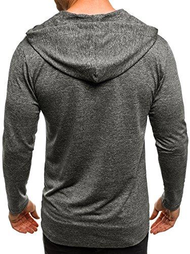 OZONEE Herren T-Shirt mit Motiv Kurzarm Rundhals Figurbetont BREEZY 459 Dunkelgrau_MAD-X1289B