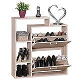 WOHNLING zapatero con 2 compartimentos para válvulas | aparador de 85 x 93 cm estante del zapato para 12 pares de | zapato Dresser Volquete armarios modernos muebles | organizadores de Sonoma roble
