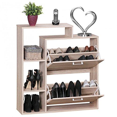 FineBuy Moderner Schuhkipper Holz 2 Fächer Sonoma Eiche 12 Paar Schuhe | Schuhschrank 85 x 24 x 93 cm | Schuhkommode...