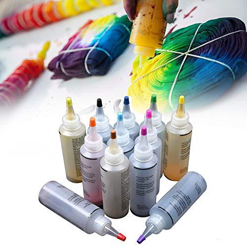Textilmarker,Tie Dye Kit, 12 Stück/satz Multicolor Tie Dye Kreationen DIY Kleidung Textilfarben mit Gummibändern, Tischtuch und Einweghandschuhen, für Mode DIY Projekte und Party Aktivitäten(1 Satz) -