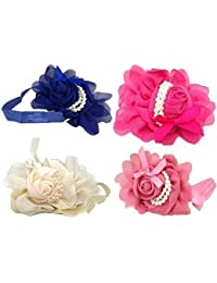 Royal Blue, Dark Pink, Tango Pink & Ivory Pack of 4 Baby Girl Children Headband hair band