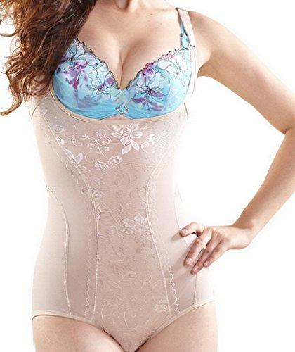 Flying Hedwig Damen Mieder Korsett Bodysuit Ganzkörper Abnehmen Shaper Gürtel-Bauch-Trimmer Hosen Taille Cincher Kontrolle Beige