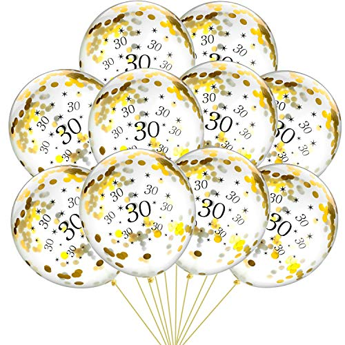 30 x Clear Balloons with Gold Confetti Filled Printed 30 Latex Balloon s