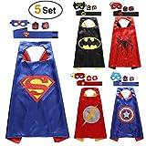Lovne Comics Cartoon Superhelden Kostüme für Kinder, 5er Set Capes und Masken, Kinderspielzeug für Weihnachte Spielsachen für Jungen und Mädchen Karneval Fasching Cosplay Costume