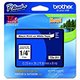 Brother Tape Black on White 6mm, TZE-211