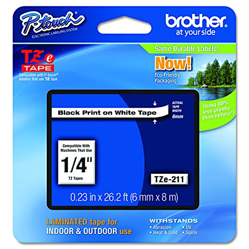 Brother Tape Black on White 6mm, TZE-211 Touch 300 Electronic