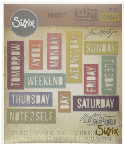 Sizzix Tägliche Worte Blockschrift von Tim Holtz Thinlits Stanzen Set, 12 in Packung, Stahl, Mehrfarbig, 19.000000000000004 x 14.5 x 0.5 cm - Thinlits Worte Sizzix