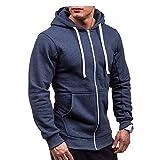 Morbuy Herren Jacke Jogging Sweatshirts Herbst Winter Pullover Trainingsanzug Reißverschluss Sport Langarm Strickjacken (XL, Marine)