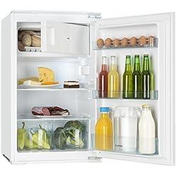 Klarstein Coolzone 120 • combiné • encastrable • 105 l • congélateur 15 l • thermostat • hauteur 88 cm • 80 W nominaux • 3 x compartiment de portes • compartiment légumes • éclairage intérieur • blanc