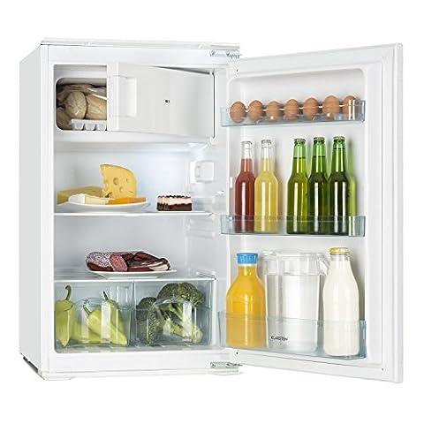 Klarstein Coolzone 120 • Kühl- Gefrierkombination • Einbaukühlschrank • 105 Liter Kühlfach • 15 Liter Gefrierfach • regelbarer Thermostat • 88 cm hoch • 80 Watt Nennleistung • 3 x Türfach • Gemüsefach • Innenbeleuchtung • weiß