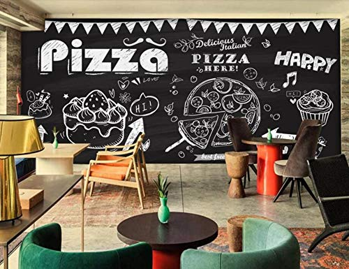 Minyose Custom 3D wallpaper mural Hand drawn pizza cake coffee Coffee shop decoration 3d wallpaper murals-200cmx140cm Red Brick Pizza