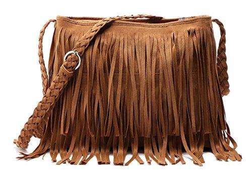 Aivtalk - Damen Fashion Fransentasche Handtasche Schultertasche Umhängetasche aus künstlichem Wildleder - Dunkelbraun