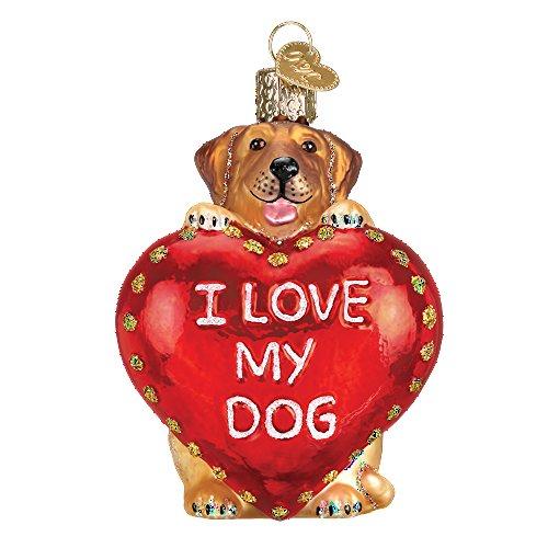 Old World Weihnachten I Love My Pet Glas geblasen Ornament Hund -