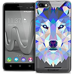 Caseink - Coque Housse Etui pour Wiko Lenny 3 [Crystal Gel HD Polygon Series Animal - Souple - Ultra Fin - Imprimé en France] Loup
