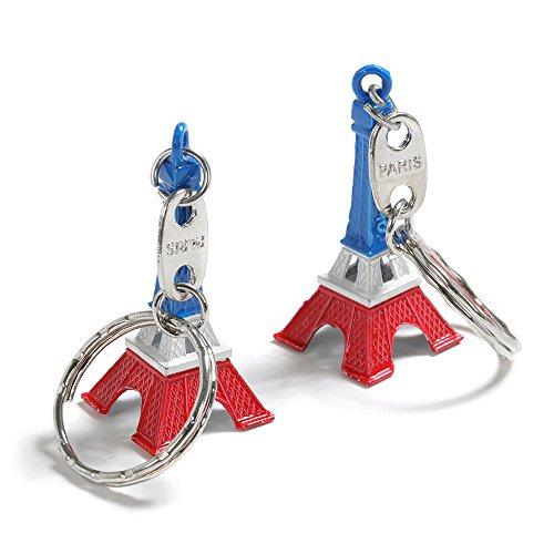 Trixes Set mit 2 Tricolour Eiffelturm Schlüsselanhängern Anhänger rot weiß blau Paris Wahrzeichen NEUHEIT Eiffel Tower Nationalfeiertag Bastille