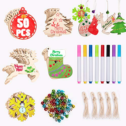 Joyjoz Ornamenti in legno di Natale 50 pezzi + 8 pennarelli + 60 campane di tintinnio, decorazioni per alberi di Natale fai-da-te per la casa Decorazioni per natale appese Ornamenti per bamb