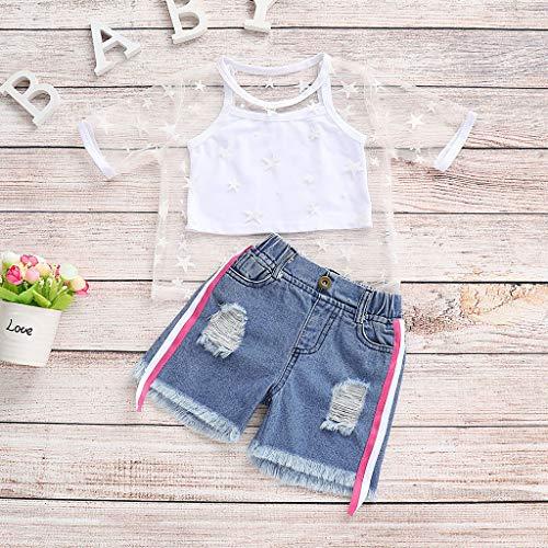 Livoral Kleinkind Baby Kind mädchen Anzug Weste + tüll Shirt + Denim Shorts 3 STÜCKE Kleidung(Weiß,120)