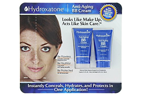 Spf 40 Sonnenschutz Creme (Hydroxatone Anti-Aging BB (Beauty Balm) Cream, Universal Shade for ALL Skin Types, SPF 40 (BONUS Pack of 2, 1.5 ounce bottles) by Hydroxatone)