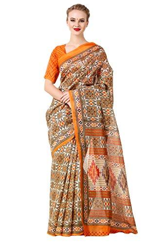 Levazo Women's Patola Color Pure Banarasi silk Poly Cotton Saree with Bouse...
