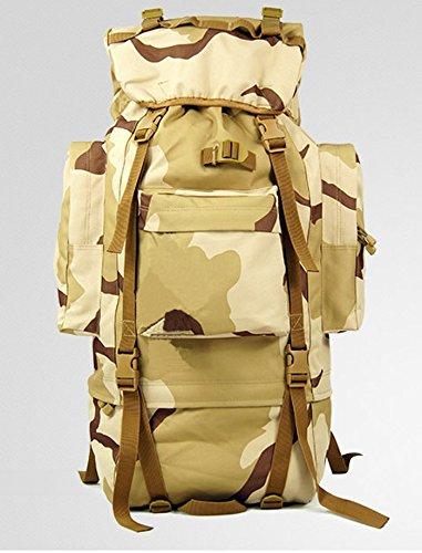Outdoor Rucksack große Kapazität camouflage Bergsteigen Taschen Rucksack, schwarz, 100L mit Wasserdichte Haube (C) 65 L mit Wasserdichte Haube