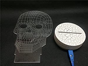Happy Fd 3D Illusion Light LED Table Lamp 3D Skull Base Synchronous Glow Table Lamp Children Night Light USB Powered Kids Room Art Sculpture Lights Produces Unique Lighting Effects and 3d Visualization