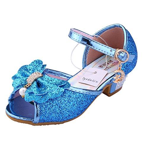 Kinder Prinzessin Schuhe Sandale Ballerina - Tyidalin mit Schmetterling und Paillette für Mädchen Kostüm Karneval Party Geburtstag Blau Gr.34