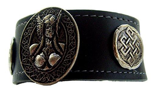 Leder Armband Thors Walküren Amazonen 3,6 cm breit Armschmuck Farbe schwarz