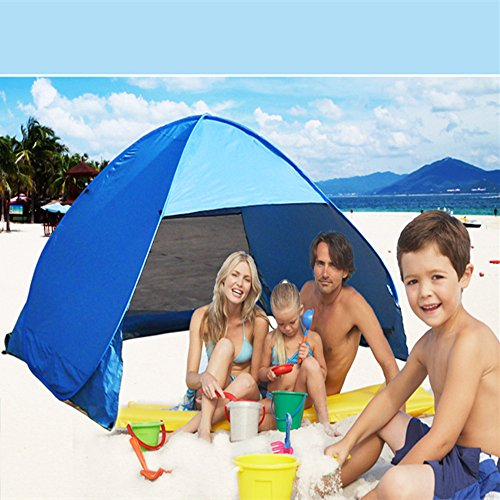 ccbetter Outdoor Automatic Pop up Instant Portable Cabana Family Beach Tent and Sun Shelter for 2 or 3 Person – Blue