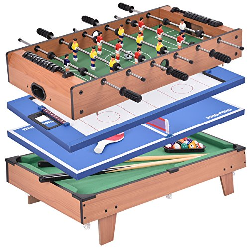 COSTWAY 4 In 1 Multi Game Sports Table Top, Air Hockey | Table Tennis | Football Table | Pool Table with Stable Legs for Party and Home